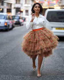 African Inspired Women Fashion Kente Tulle Skirt