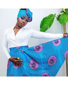 African Inspired Woman Maxi Skirt & Headwraps, Long  Skirt and African Prints Patterned Headwraps