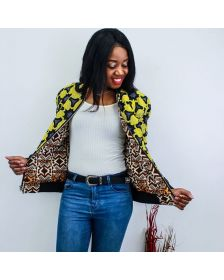 African Inspired  Woman Yellow Bomber By Nathanael Creations