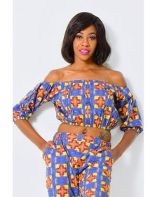 African Inspired Cropped Off Shoulder Top, Stylish Ladies Patterned Top by Alleon Cologne