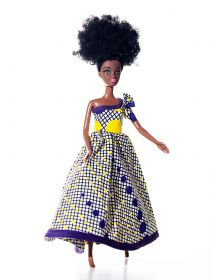 African Inspired Purple Mirrors Half Shoulder Doll Dress