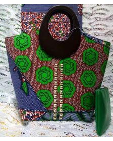 African Inspired Nathanael Creations Woman Dark Green Wax Handbag