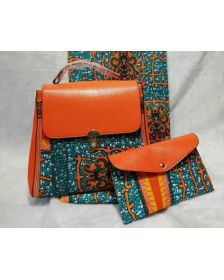 African Inspired Nathanael Creations Woman deep Blue Wax Handbag