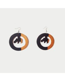 African Inspired Woman Hippo Earrings, Wooden Jewry By Boutique Africaine
