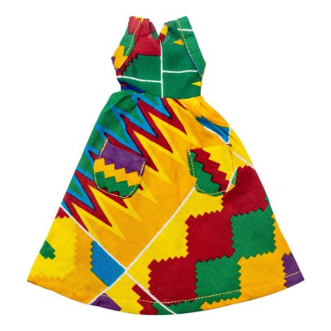 African Inspired Festive Kenté Dress with pockets for Little Grls Doll