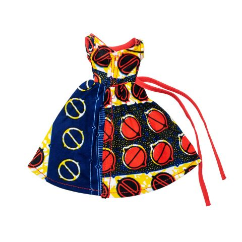 African Inspired Life Short Sleeve Doll Dress w Red Belt