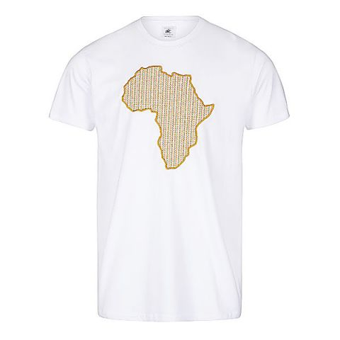Unisex White African Inspired T-shirt with Embroidered Design- 100% Coton - Unisex By Katiopa