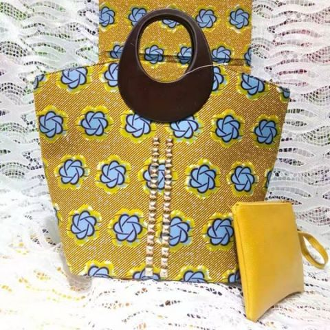 African Inspired Nathanael Creations Woman Yellow Blue Wax Handbag