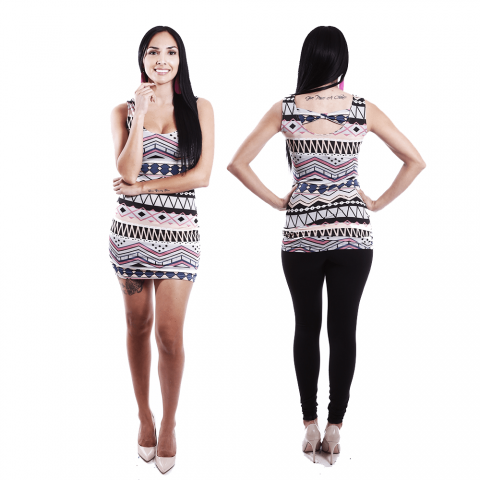 Boutique Africaine African Inspired,Tribal Print Black, White & Purple Skinny Dress