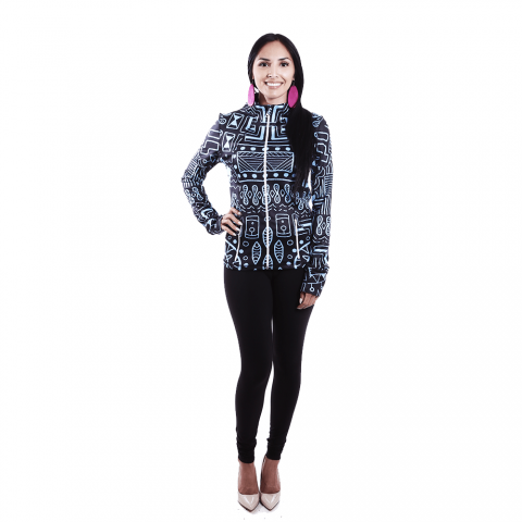African Inspired Woman Blue Tribal Jacket, Long Sleeve Patterned Rich Clothes