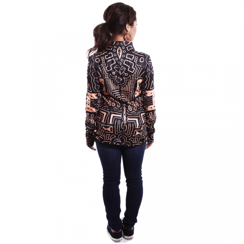 African Inspired Woman Brown Tribal Jacket, Long Sleeve Patterned Rich Clothes