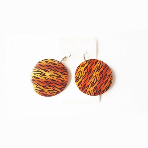 African Inspired Cheetah Earrings, Wooden Jewelry by Boutique Africaine