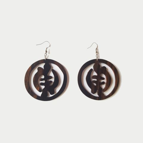 African Inspired Chinese Symbols Earrings, Boutique Africaine Wooden Jewelry