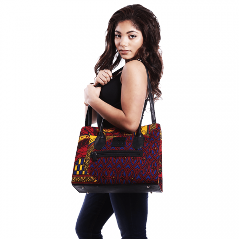 African Inspired Woman Large Wax Handbag, Ladies Shoulder Bag