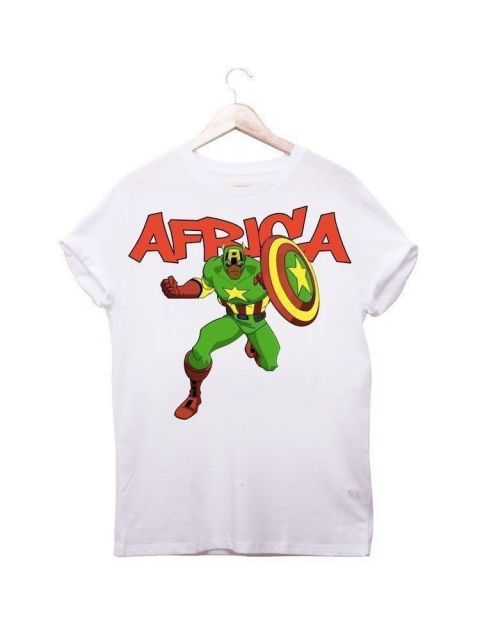 African Inspired Kids Captain Africa Printed T-Shirt By Ladjy Clothing