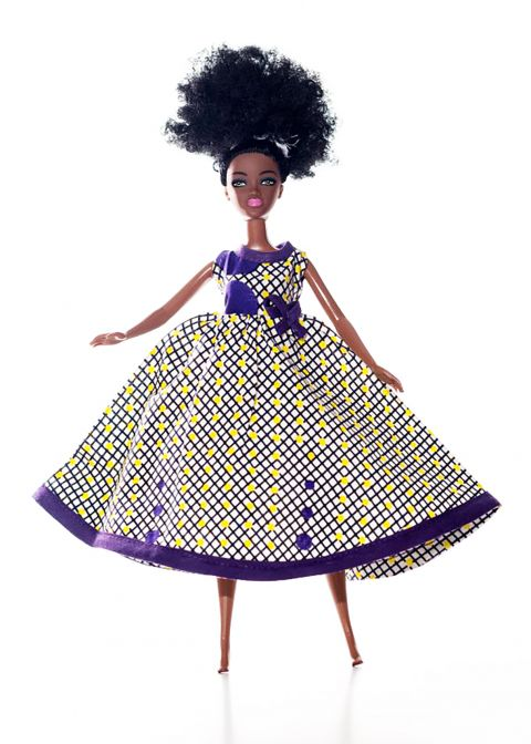 African Inspired Litte Girls Mirror Doll Dress W Short Sleeves