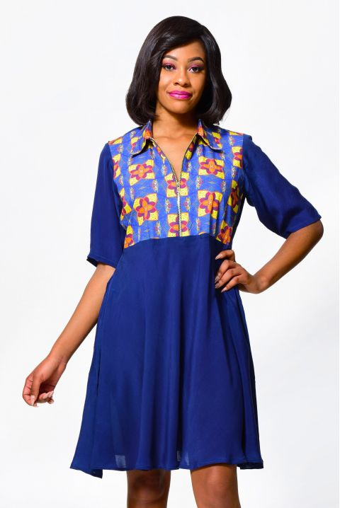 African Inspired Alleon Cologne A Line Dress, Summer Clothing Blue Women Dress