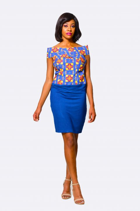 African Inspired Woman Bodycon Dress, Navy Blue Ladies Wear from Alleon Cologne
