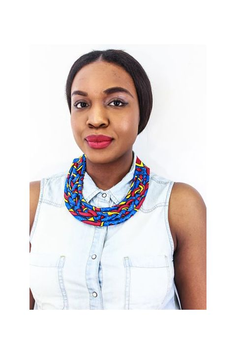 African Inspired Wax Print Round, Blue Necklace  By Nathanael Creations