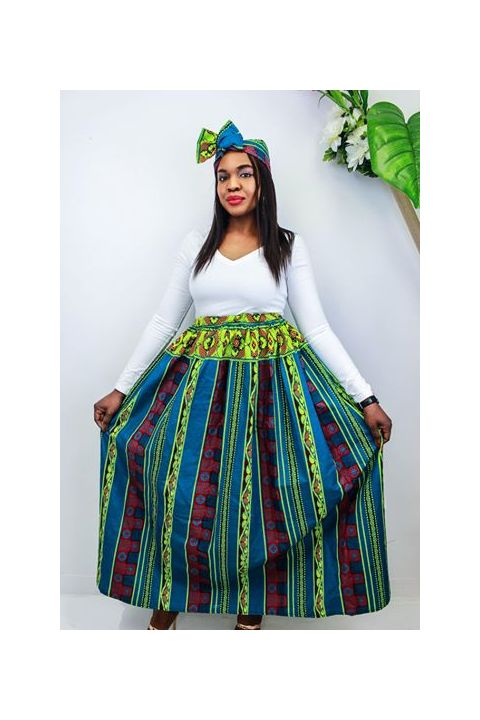 African Inspired Flexible Skirt & Headwrap  By Nathanael Creations