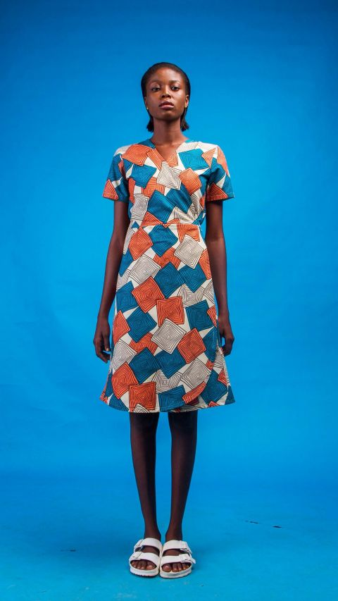 Bushra African Print and Pattern Wrap Women Dress By Atelier d'Afrique